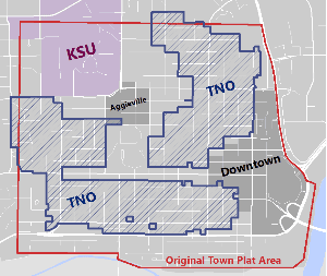 map with marked districts and zoning