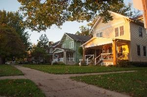 color photo of street with historic homes