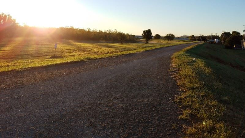 photo of linear trail at sunrise