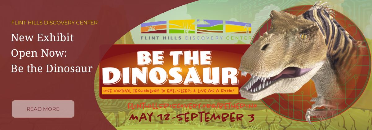 graphic for Be the Dinosaur exhibit at the Flint Hills Discovery Center