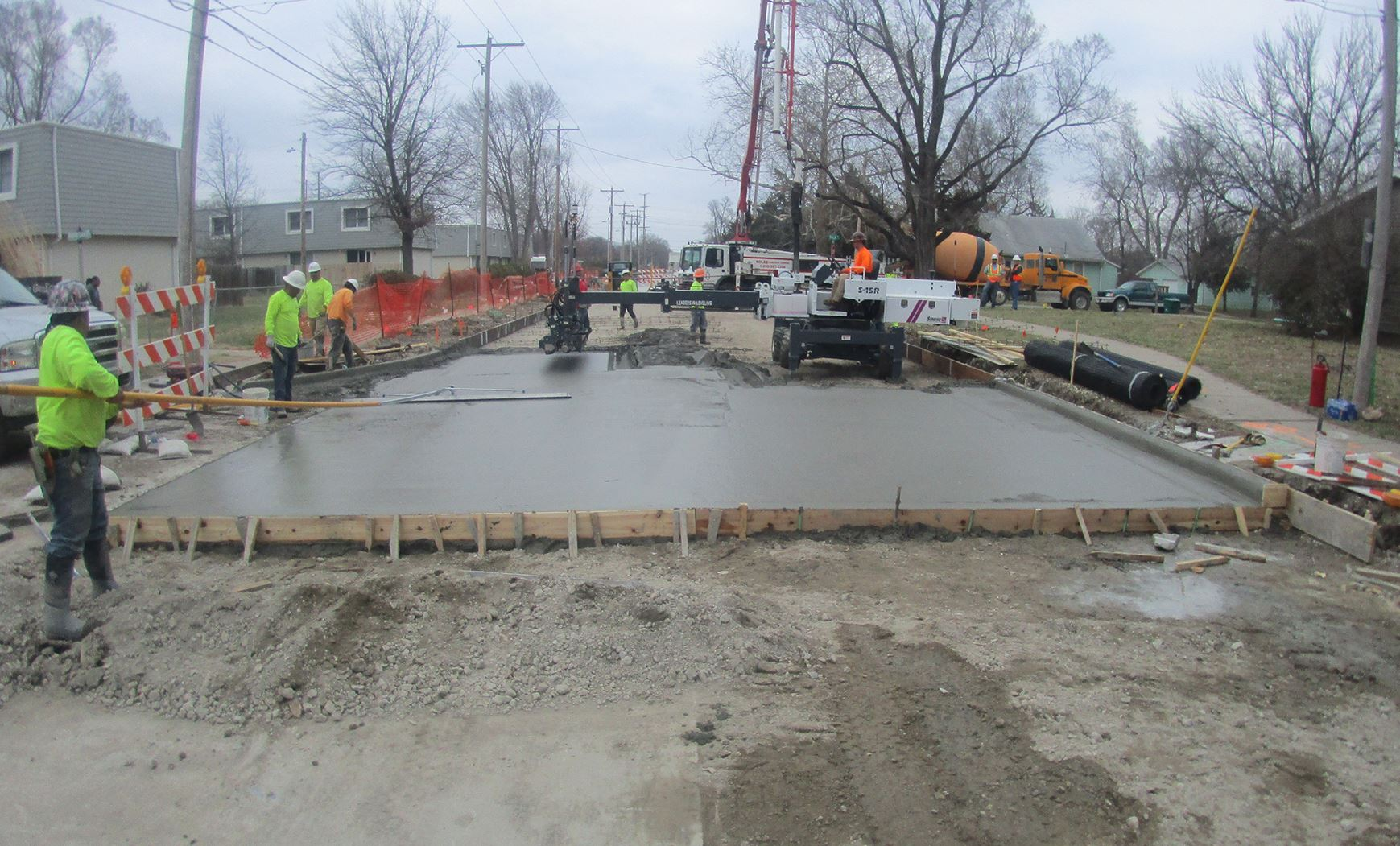 photo of concrete being poured at Allen Road