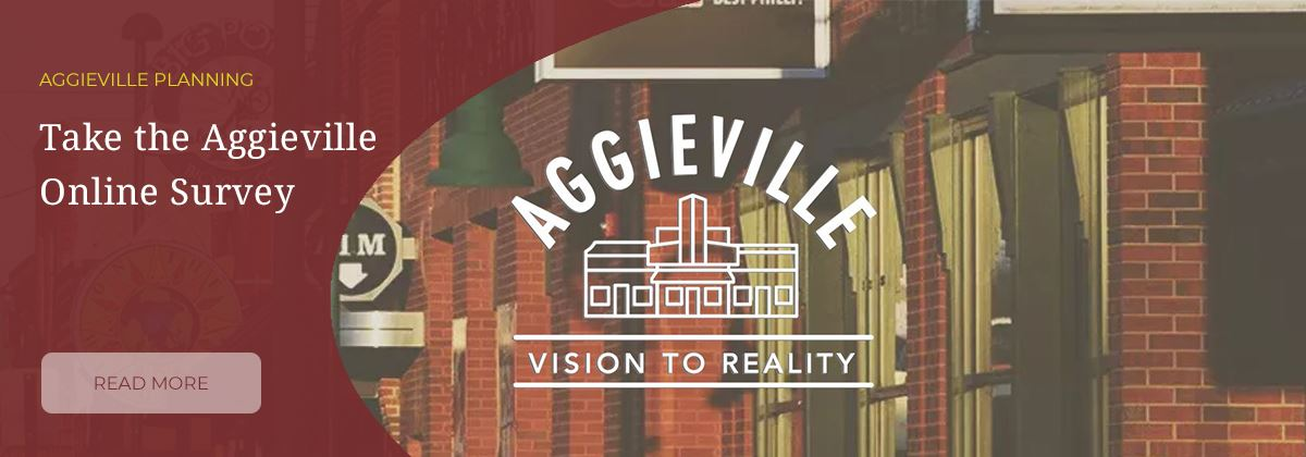photo of Aggieville with text take the Aggieville online survey