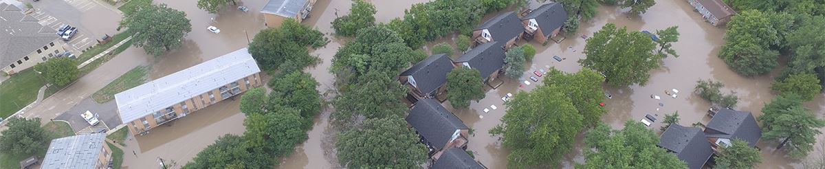 aerial photo of flooded apartments