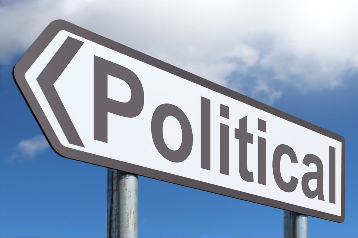 photo of a sign with the word political