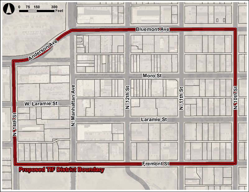 map of proposed TIF boundary in Aggieville