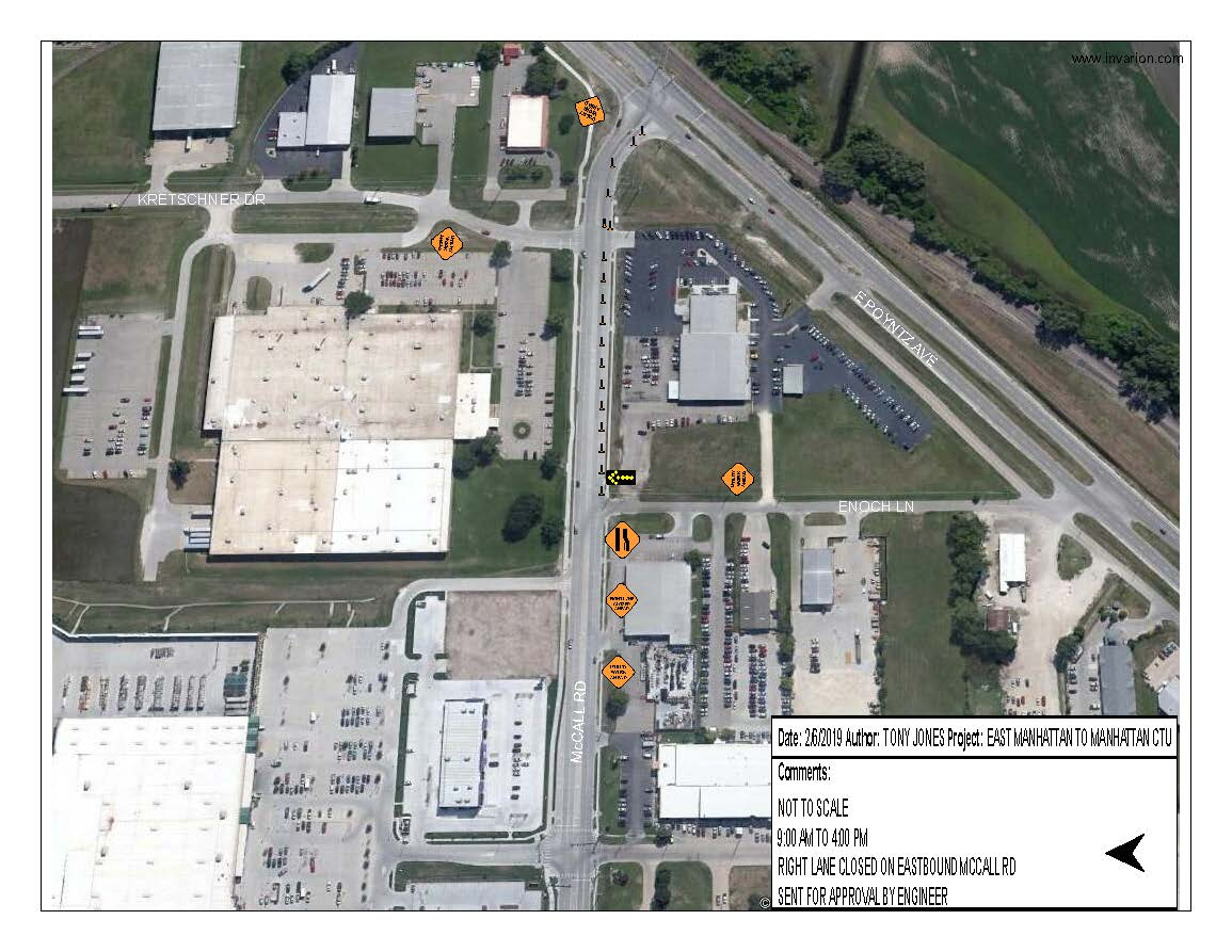 EB MCCALL RD RIGHT LANE CLOSURE map