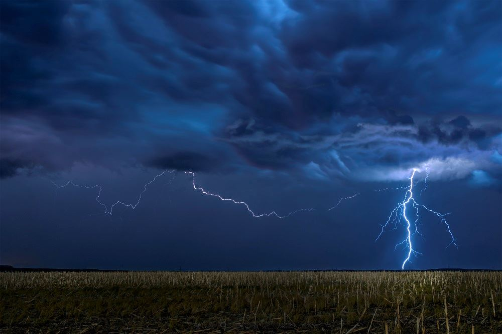 photo of lightning storm in a field