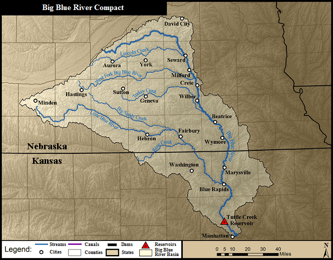 map of watershed area for Big Blue River Compact