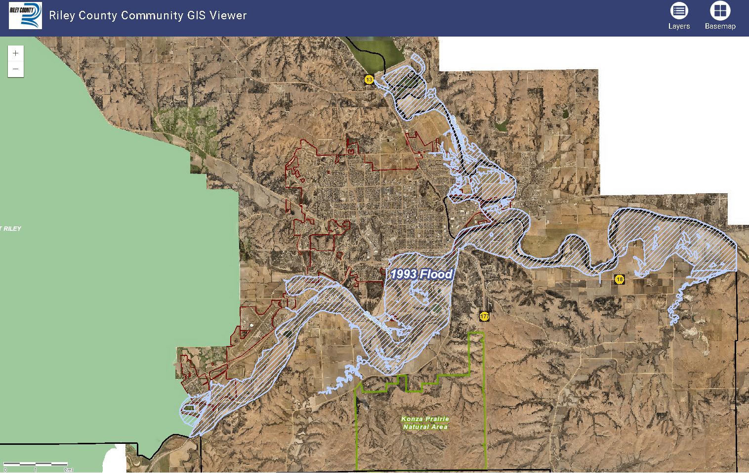 GIS map of 1993 flooding