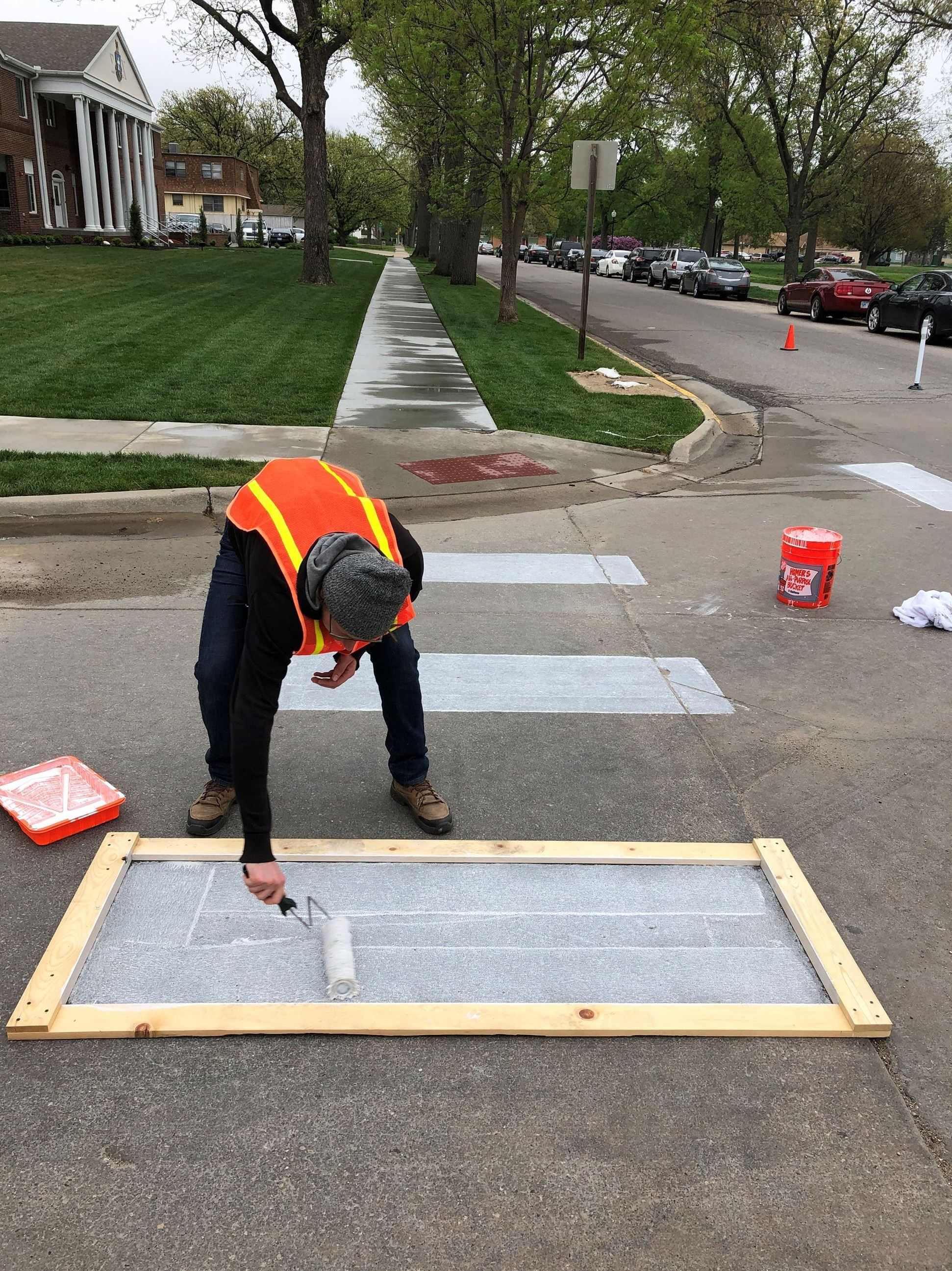 Our crew worked quickly to paint the crosswalks.