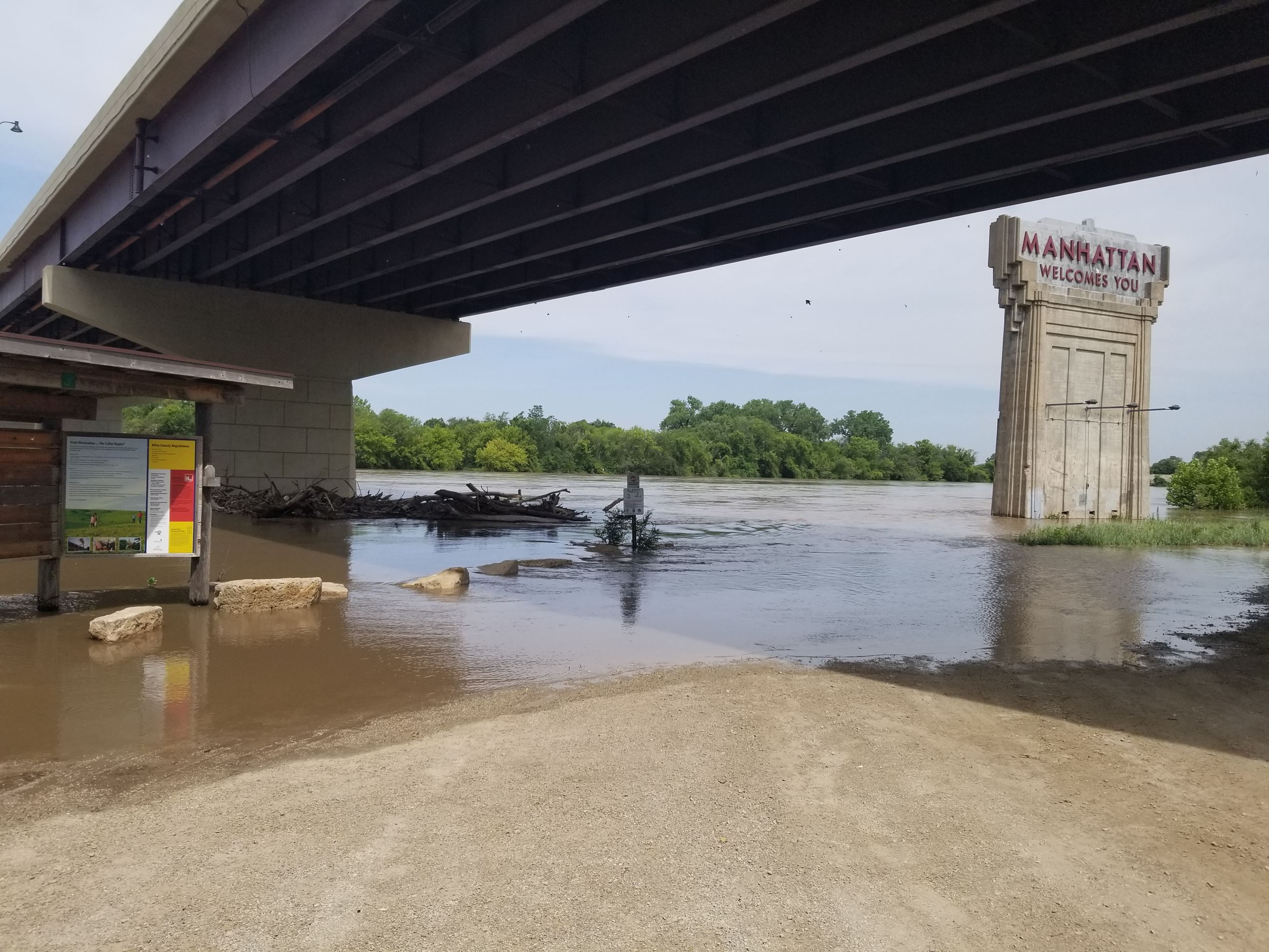 photo of the Kansas river under the HWY 177 bridge in Manhattan