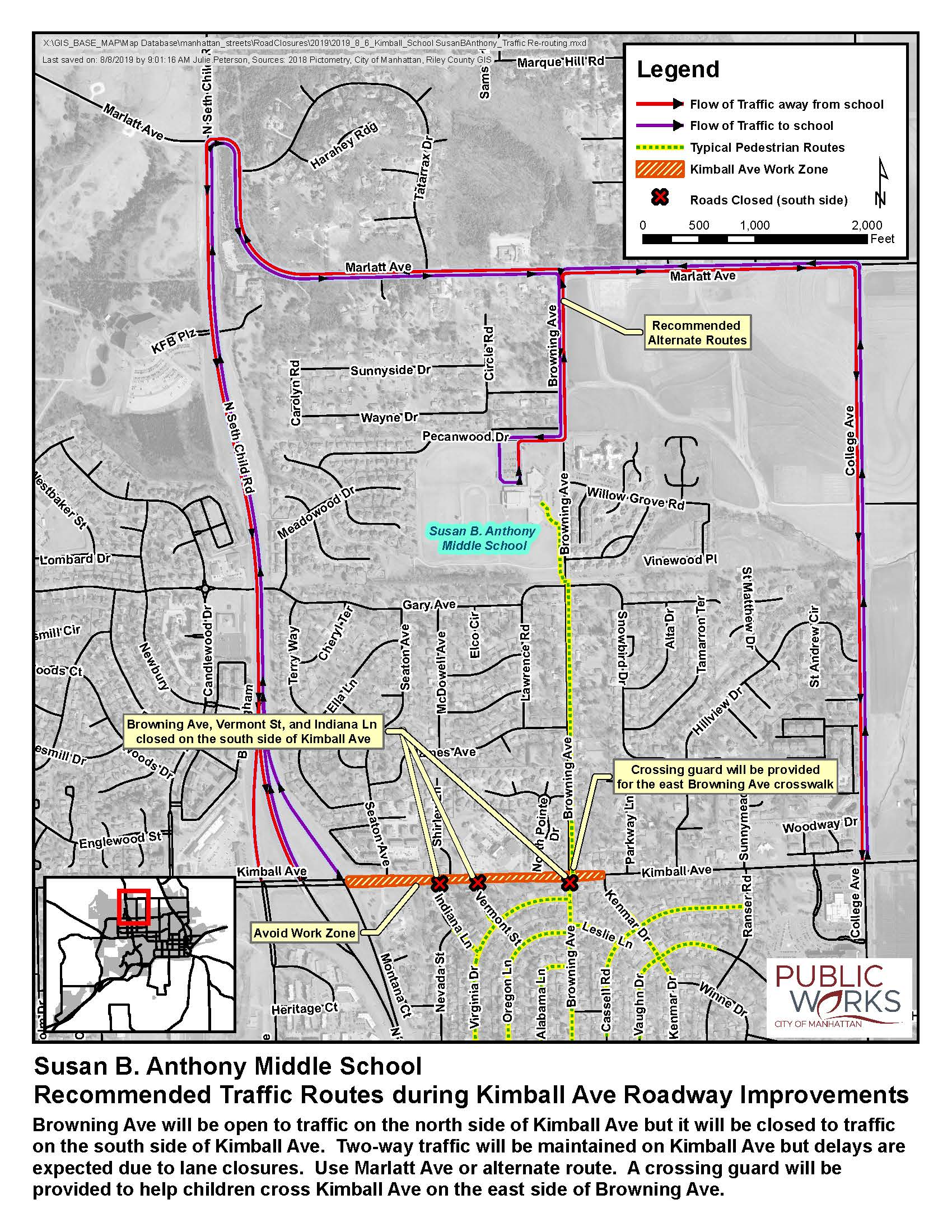 map of traffic re-routing for Susan B Anthony Middle School