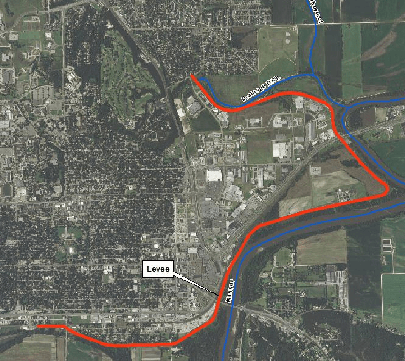 map of levee and area it protects