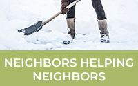 photo of someone shoveling snow - link to the neighbors helping neighbors program