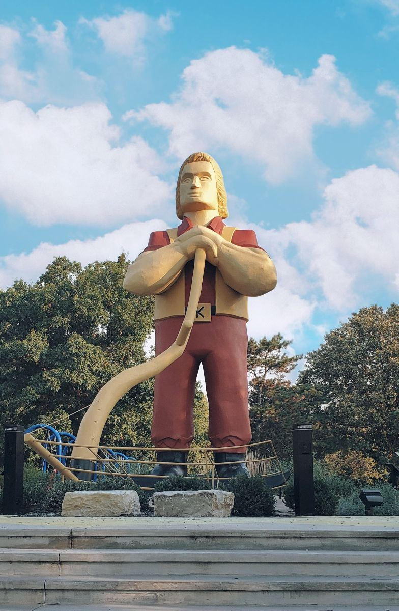 photo of Johnny Kaw statue in City Park