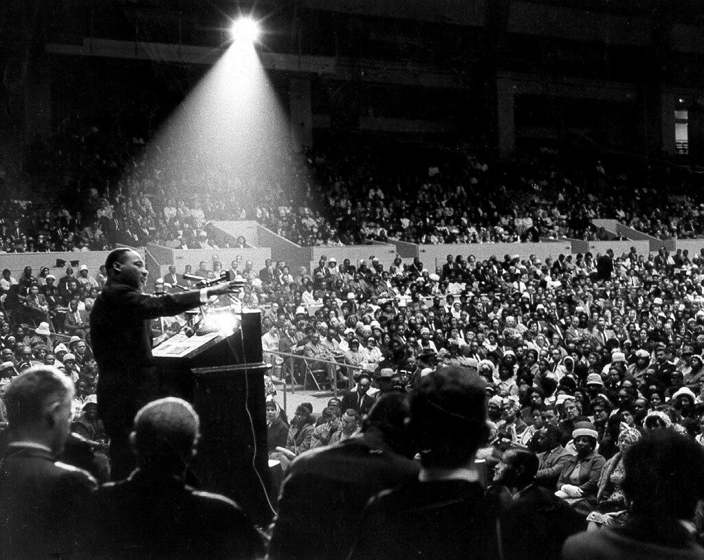 photo of Dr. Martin Luther King, Jr addressing a crowd