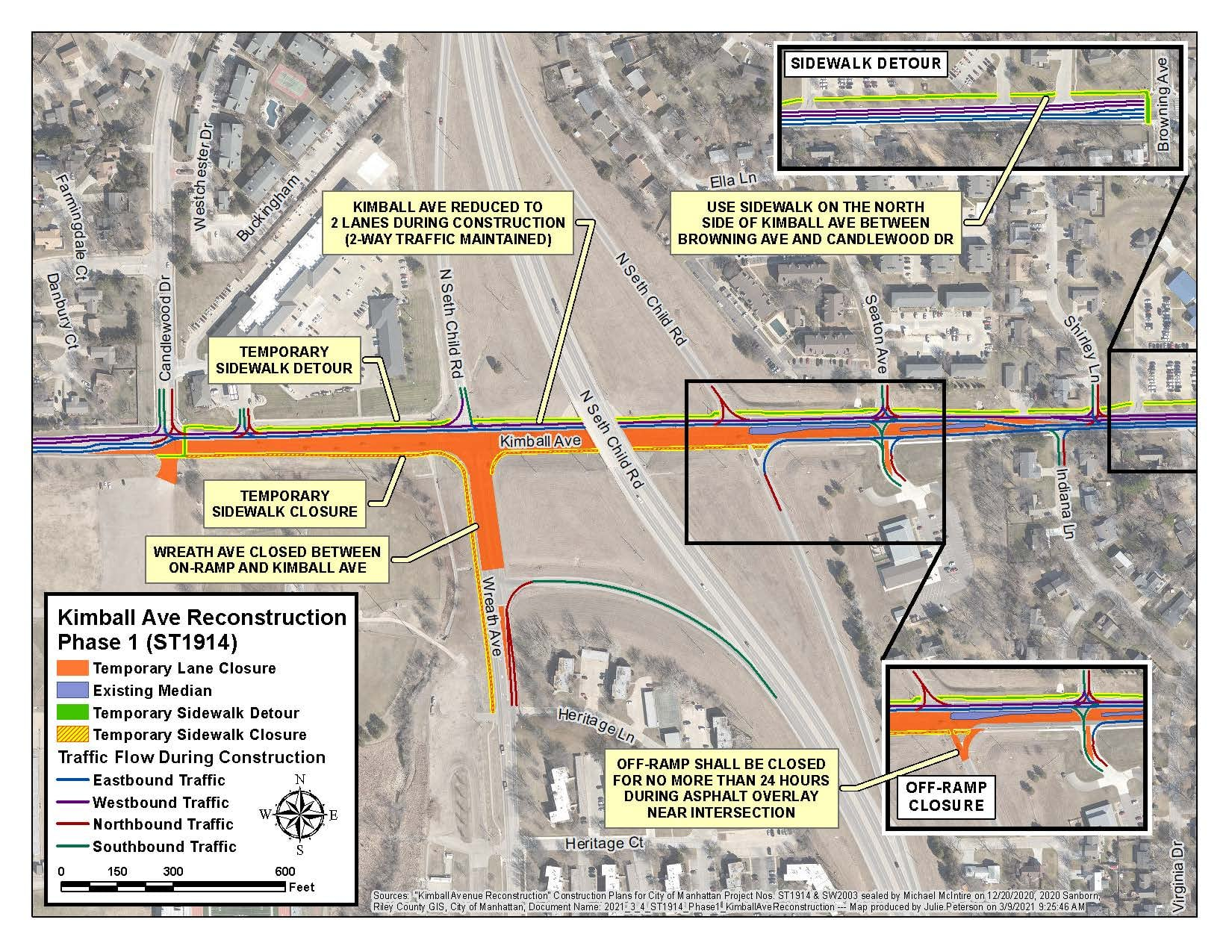 map of Kimball Avenue reconstruction project