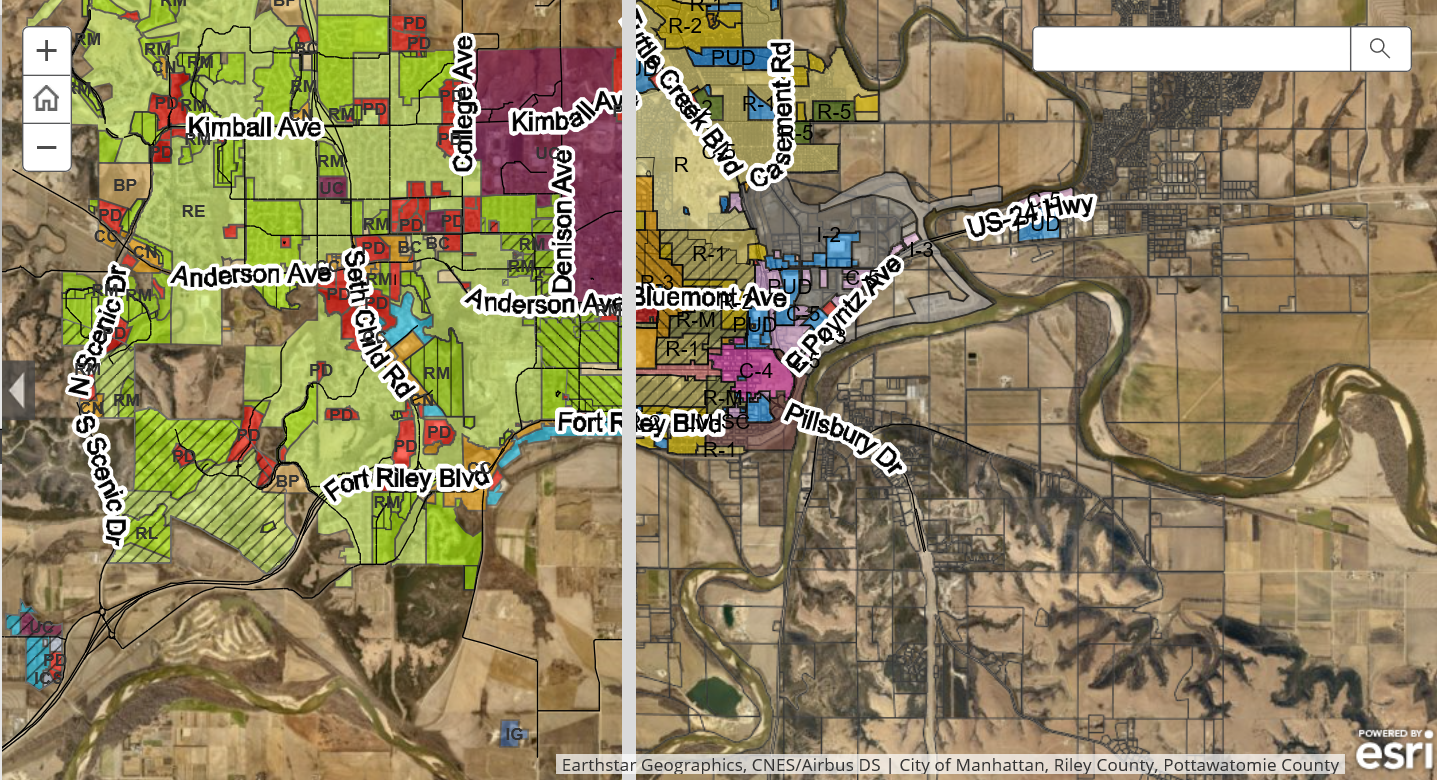 GIS map highlighting old and new zoning areas Opens in new window